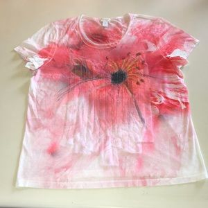 Chicos size 2 floral sequins tee shirt T-shirt
